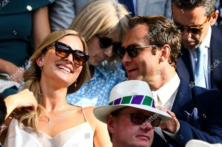 Stock Photo of Jude Law and Phillipa Coan in the Royal Box on Centre Court