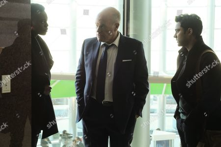 Stock Image of Shaunette Renee Wilson as Mina Okafor, Mike Pniewski as Abe Benedict and Manish Dayal as Devon Pravesh