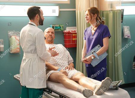 Tasso Feldman as Irving Feldman, Christopher B. Duncan as Brett Slater and Jane Leeves as Dr. Kitt Voss