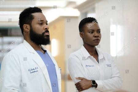Malcolm-Jamal Warner as AJ Austin and Shaunette Renee Wilson as Mina Okafor