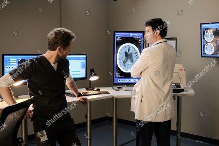Matt Czuchry as Conrad Hawkins and Michael Hogan as Dr. Albert Nolan