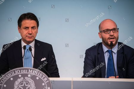 Prime Minister Giuseppe Conte, Lorenzo Fontana Minister of European Affairs during the press conference