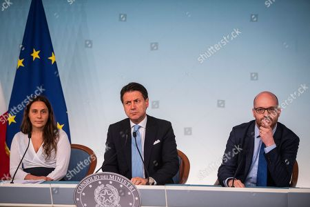 Alessandra Locatelli, new Minister of Family, Prime Minister Giuseppe Conte, Lorenzo Fontana Minister of European Affairs during the press conference