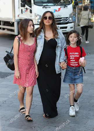 Myleene Klass at Smooth FM with daughters Hero Harper Quinn and Ava Bailey Quinn