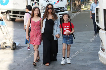 Stock Photo of Myleene Klass at Smooth FM with daughters Hero Harper Quinn and Ava Bailey Quinn