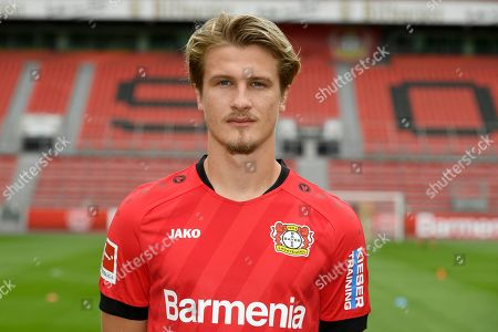 Leverkusen's Croatian defender Tin Jedvaj poses for a photo during the presentation of Bayer Leverkusen's squad for the upcoming first Bundesliga season at the BayArena in Leverkusen, western Germany, on