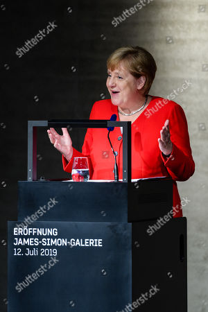 German Chancellor Angela Merkel speaks during the officially opening of the 'James-Simon-Galerie' building at the Museum Island in Berlin, Germany, 12 July 2019. The building is the new central entrance for the Berlin historic Museums Island and was designed by British architect David Chipperfield.