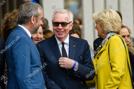 (L-R) The President of the Prussian Cultural Heritage Foundation Hermann Parzinger, British architect David Chipperfield and German State Culture Minister Monika Gruetters attend the official opening of the 'James-Simon-Galerie' building at the Museum Island in Berlin, Germany, 12 July 2019. The building is the new central entrance for the Berlin historic Museums Island and was designed by British architect David Chipperfield.
