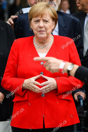 German Chancellor Angela Merkel attends the official opening of the 'James-Simon-Galerie' building at the Museum Island in Berlin, Germany, 12 July 2019. The building is the new central entrance for the Berlin historic Museums Island and was designed by British architect David Chipperfield.
