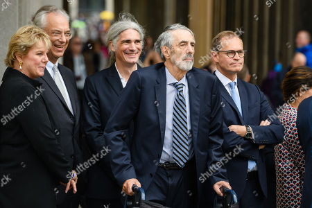 (L-R) Ann Simon, the Director General of the National Museums in Berlin Michael Eissenhauer, Architect Alexander Schwarz, Timothy M. Simon and Berlin Governing Mayor Michael Mueller attend the official opening of the 'James-Simon-Galerie' building at the Museum Island in Berlin, Germany, 12 July 2019. The building is the new central entrance for the Berlin historic Museums Island and was designed by British architect David Chipperfield.