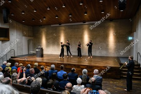 An interior view of a group of musicians performing during the official opening of the 'James-Simon-Galerie' building at the Museum Island in Berlin, Germany, 12 July 2019. The building is the new central entrance for the Berlin historic Museums Island and was designed by British architect David Chipperfield.