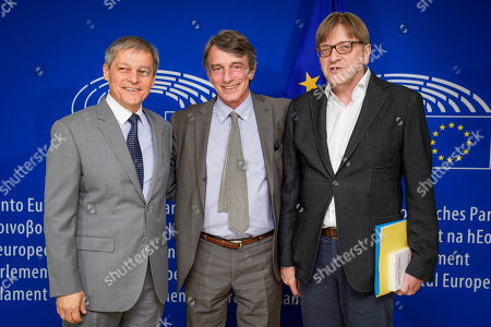 David Sassoli, with Guy Verhofstadt and Dacian Ciolos