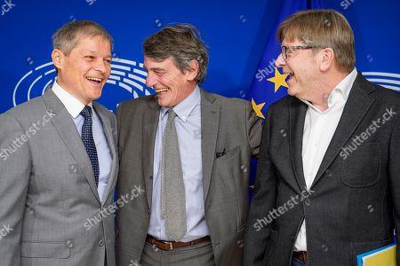 David Sassoli, Guy Verhofstadt and Dacian Ciolos