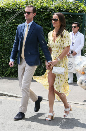 James Matthews and Pippa Middleton is pictured arriving at the AELTC for day 11 of the Wimbledon Championships.