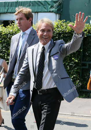 Sir Cliff Richard is pictured arriving at the AELTC for day 11 of the Wimbledon championships.