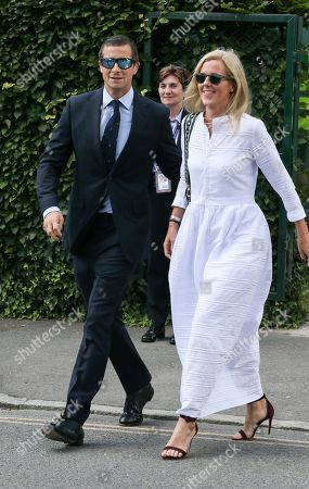 Shara Grylls and Bear Grylls is pictured arriving at the AELTC for day 11 of the Wimbledon championships.