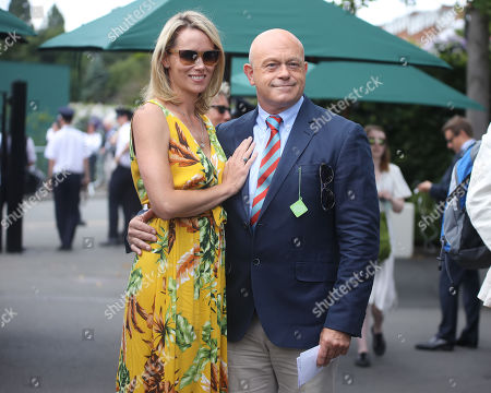 Ross Kemp and his wife Renee O'Brien arrive at Wimbledon on day eleven of the Championships