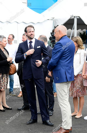 Prince Felix of Luxembourg and Thomas Carlzon, mayor of Kalmar, attend the inauguration of the new water plant in Morbylanga, Oland, Sweden