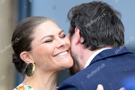 Crown Princess Victoria greeting Prince Felix of Luxemburg at the inauguration of the new water plant in Morbylanga, Oland, Sweden