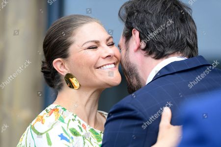 Stock Photo of Crown Princess Victoria greeting Prince Felix of Luxemburg to the inauguration at the new water plant in Morbylanga, Oland, Sweden