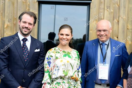 Stock Picture of Prince Felix of Luxembourg, Crown Princess Victoria and Thomas Carlzon attend the inauguration of the new water plant in Morbylanga, Oland, Sweden