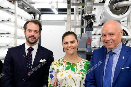 Prince Felix of Luxembourg, Crown Princess Victoria and Thomas Carlzon attend the inauguration of the new water plant in Morbylanga, Oland, Sweden