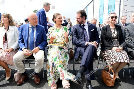 Thomas Carlzon, Crown Princess Victoria and Prince Felix of Luxembourg attend the inauguration of the new water plant in Morbylanga, Oland, Sweden