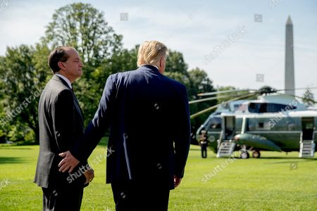 Donald Trump, Alex Acosta. President Donald Trump speaks with Labor Secretary Alex Acosta, left, on the South Lawn of the White House in Washington, before Trump boards Marine One for a short trip to Andrews Air Force Base, Md. and then on to Wisconsin. Trump says Labor Secretary Alex Acosta to step down, move comes in wake of handling of Jeffrey Epstein case