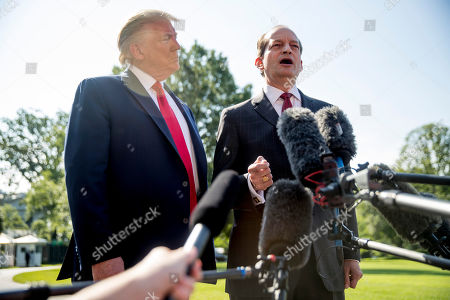 Donald Trump, Alex Acosta. Labor Secretary Alex Acosta, right, accompanied by President Donald Trump, speaks to members of the media on the South Lawn of the White House in Washington, before Trump boards Marine One for a short trip to Andrews Air Force Base, Md. and then on to Wisconsin. Trump says Labor Secretary Alex Acosta to step down, move comes in wake of handling of Jeffrey Epstein case