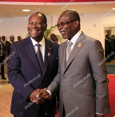 Ivorian President Alassane Ouattara (L) greets President of Benin Patrice Talon (R) at the 21st Summit of Heads of State of the West African Monetary Union (UEMOA) in Abidjan, Ivory Coast, 12 July 2019. The eight-state organization was established in 1994 to promote economic integration among countries that use the West African CFA franc as their currency.