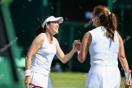 Ai Sugiyama of Japan and Mary Joe Fernandez of the United States during the women's invitation doubles round robin match