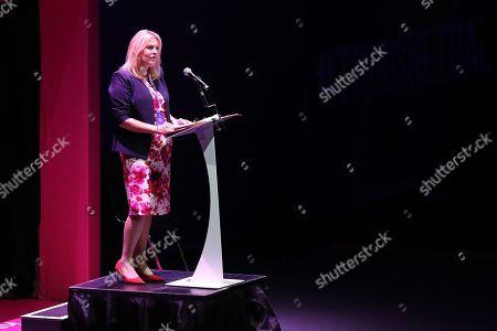 Minister of Sport Mims Davies makes a speech