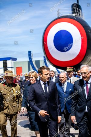 Emmanuel Macron, Herve Guillou, CEO of Naval Group, Linda Reynolds Minister of Defence and Bernard Cazeneuve