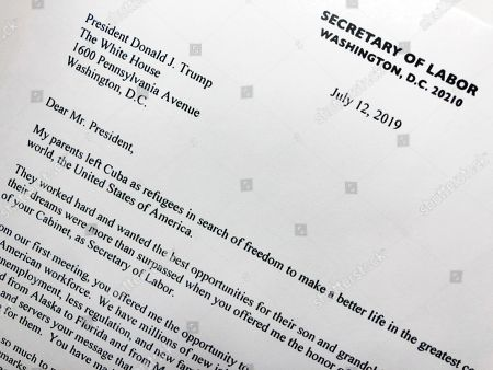 Part of the resignation letter from Labor Secretary Alex Acosta to President Donald Trump is photographed in Washington, . Acosta said he is resigning following renewed scrutiny of his handling of a 2008 secret plea deal with wealthy financier Jeffrey Epstein, who is accused of sexually abusing dozens of underage girls