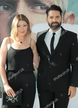 Drew Pearce (R) and guest