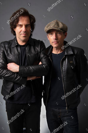 "Jakob Dylan, Andrew Slater. Andrew Slater, left, and Jakob Dylan pose for a portrait in New York in promotion of their film ""Echo In the Canyon"