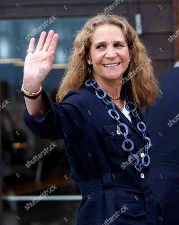 Spain's Princess Elena de Borbon waves upon her arrival in Royal Yacht Club in Sanxenxo, northwestern Spain, 12 July 2019. Spain's Emeritus royal couple attended a dinner to pay tribute to the Spanish Navy.
