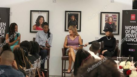 Basketball Analyst LaChina Robinson moderated a panel discussion featuring Triplets Head Coach Lisa Leslie, Power Head Coach Nancy Lieberman and Big3 Chairman of the Board Amy Trask for the Women of Big3 Power Lunch presented by Toyota on in New York