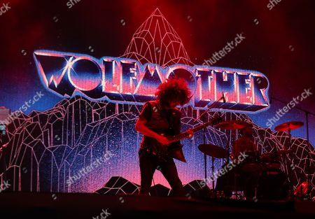 Stock Picture of Guitarist and lead singer Andrew Stockdale of Australian hard rock band Wolfmother performs during a concert as part of the Mad Cool Festival in Madrid, Spain, late 12 July 2019 (issued 13 July 2019). The festival runs from 11 to 13 July.