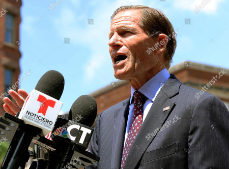 U.S. Sen. Richard Blumenthal speaks to the media, in Hartford, Conn., about new legislation he introduced to prevent immigration officers from deporting immigrants living in the country illegally. The proposal aims to hold the U.S. Immigration and Customs Enforcement agency accountable if they violate their own policies of generally avoiding enforcement in safe areas where immigrants can seek refuge like churches, schools and hospitals