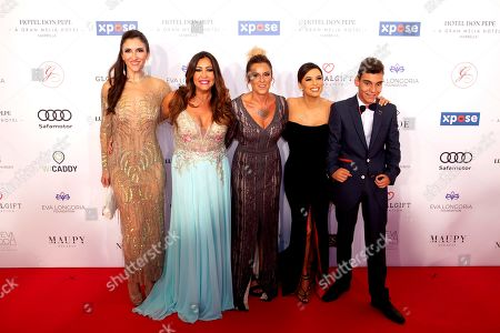Alicia Lobo (L), María Bravo (2L), La Mari (3L), Eva Longoria (2R) and Adrian Martin (R) pose upon their arrival to the VIII Global Gift gala in Marbella, Spain, 12 July 2019.   The event is part of the Philanthropic Weekend activities organized by the Global Gift Foundation.