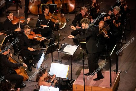 The Mahler Chamber Orchestra under the direction of Pablo Heras-Casado, performs on stage at the palace of Carlos V, closing the 68th International Festival of Music and Dance of Granada, Spain, 12 July 2019.