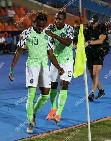 Samuel Chukwueze celebrates with Odion Jude Ighalo of Nigeria