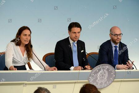 From left to right:: Alessandra Locatelli, Giuseppe Conte and Lorenzo Fontana