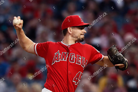 Los Angeles Angels Taylor Cole in action during the match between the Seattle Mariners and the Los Angeles Angels at the Angel Stadium in Anaheim, California, USA, 12 July 2019.