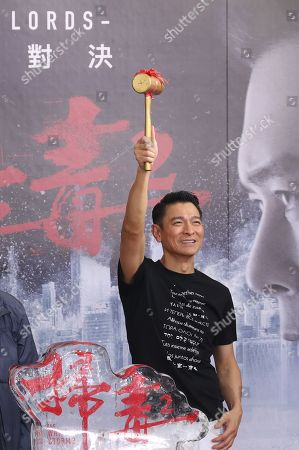 Andy Lau attends a promotional event for 'The White Storm 2: Drug Lords' in Taipei, Taiwan, 13 July 2019. The movie opened in Taiwanese theaters on 12 July.