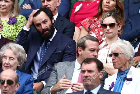 Stock Image of Aidan Turner and Lily James in the Royal Box on Centre Court