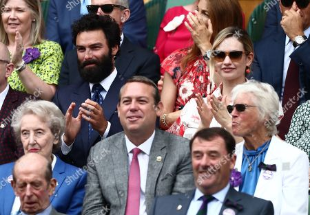 Stock Photo of Aidan Turner and Lily James in the Royal Box on Centre Court