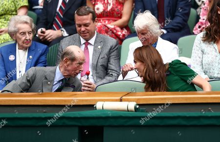 The Duke of Kent and Catherine Duchess of Cambridge in the Royal Box on Centre Court
