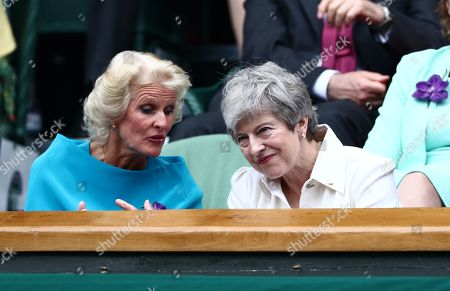 Gill Brook and Theresa May in the Royal Box on Centre Court